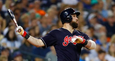 Cleveland Indians' Jason Kipnis hits a three-run home run off Detroit Tigers relief pitcher Shane Greene in the ninth inning of a baseball game in Detroit, Friday, June 8, 2018. (AP Photo/Paul Sancya)