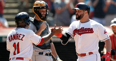 Cleveland Indians' Yonder Alonso, right, is congratulated by Jose Ramirez after Alonso hit a two-run home run in the eighth inning of a baseball game against the Pittsburgh Pirates, Wednesday, July 25, 2018, in Cleveland. The Indians won 4-0.