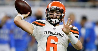 Cleveland Browns quarterback Baker Mayfield throws during the first half of an NFL football preseason game against the Detroit Lions, Thursday, Aug. 30, 2018, in Detroit.