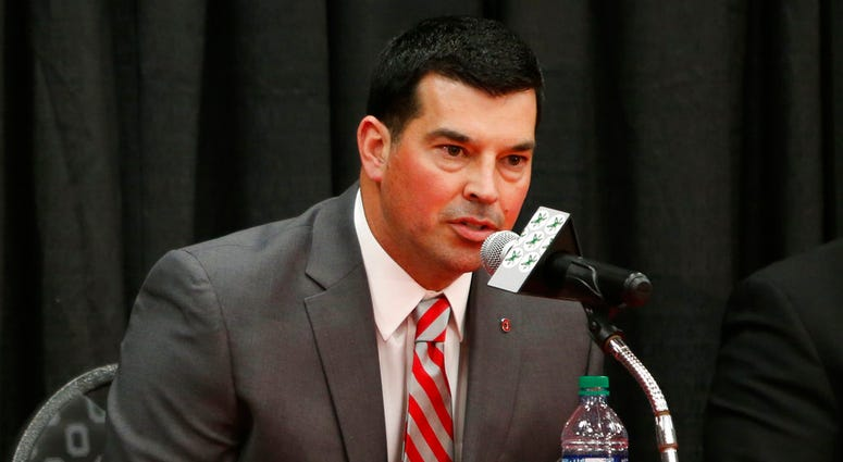 Ohio State NCAA college football offensive coordinator Ryan Day answers questions during a news conference announcing his hiring as head coach to replace Urban Meyer, who announced his retirement Tuesday, Dec. 4, 2018, in Columbus, Ohio. (AP Photo/Jay LaP