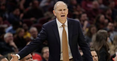 Cleveland Cavaliers head coach John Beilein reacts in the first half of an NBA basketball game against the Orlando Magic, Friday, Dec. 6, 2019, in Cleveland.