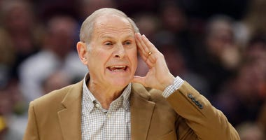 Cleveland Cavaliers head coach John Beilein yells instructions to players in the second half of an NBA basketball game against the Detroit Pistons, Tuesday, Jan. 7, 2020, in Cleveland. Detroit won 115-113.(AP Photo/Tony Dejak)