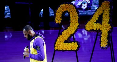 Los Angeles Lakers' LeBron James, wearing a No. 24 jersey, speaks about Kobe Bryant prior to an NBA game between the Lakers and the Portland Trail Blazers on Friday, Jan. 31, 2020, in Los Angeles.