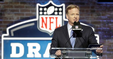 FILE - In this April 25, 2019, file photo, NFL Commissioner Roger Goodell speaks ahead of the first round at the NFL football draft in Nashville, Tenn. In a memo sent to the 32 teams Monday, April 6, 2020, and obtained by The Associated Press, NFL Commiss