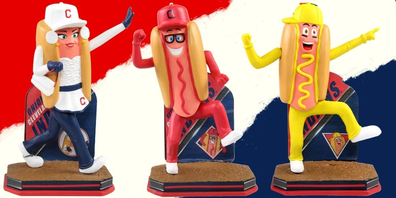 Indians Sugardale Ketchup Mustard Onion Hot Dog bobbleheads