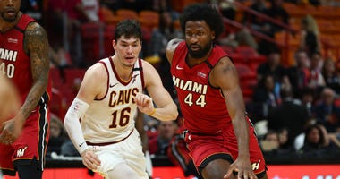 Miami Heat forward Solomon Hill (44) drives to the basket against Cleveland Cavaliers forward Cedi Osman (16)