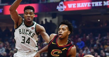 Nov 29, 2019; Cleveland, OH, USA; Cleveland Cavaliers guard Darius Garland (10) drives to the basket against Milwaukee Bucks forward Giannis Antetokounmpo (34) during the first half at Rocket Mortgage FieldHouse. Mandatory Credit: Ken Blaze-USA TODAY Spor