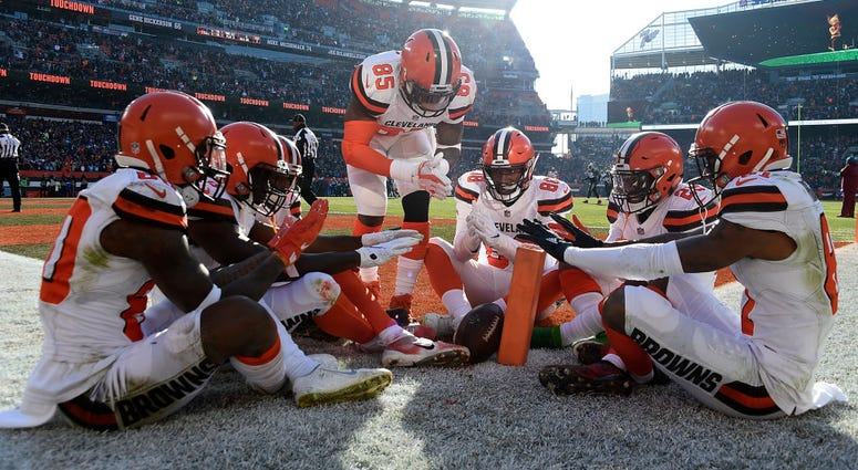 CLEVELAND, OH - DECEMBER 09: Jarvis Landry #80 of the Cleveland Browns celebrates his touchdown with teammates during the second quarter against the Carolina Panthers during the second quarter at FirstEnergy Stadium on December 9, 2018 in Cleveland, Ohio.