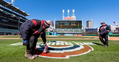 CLEVELAND, OH - APRIL 01: The Cleveland Indians grounds crew preps the field prior to the Opening Day game against the Chicago White Sox at Progressive Field on April 1, 2019 in Cleveland, Ohio. (Photo by Jason Miller/Getty Images)
