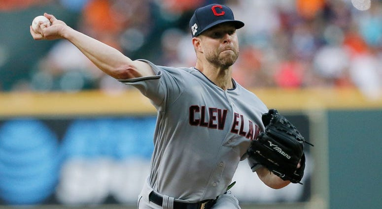 HOUSTON, TEXAS - APRIL 26: Corey Kluber #28 of the Cleveland Indians pitches in the first inning against the Houston Astros at Minute Maid Park on April 26, 2019 in Houston, Texas. (Photo by Bob Levey/Getty Images)