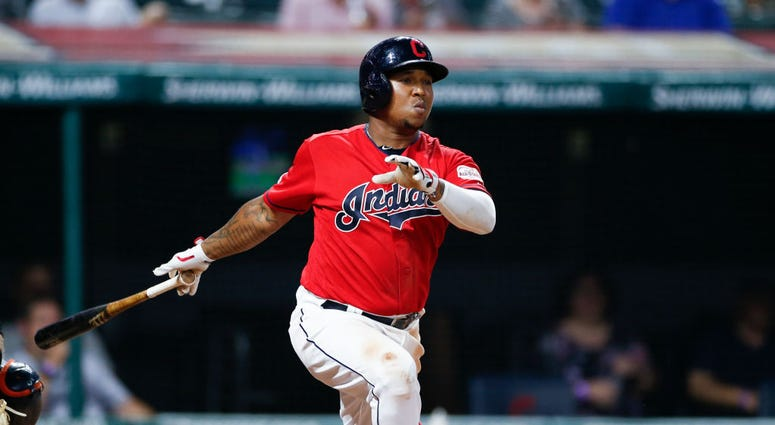 CLEVELAND, OH - JULY 15: Jose Ramirez #11 of the Cleveland Indians hits a two run double off Victor Alcantara #58 of the Detroit Tigers during the seventh inning at Progressive Field on July 15, 2019 in Cleveland, Ohio. (Photo by Ron Schwane/Getty Images)