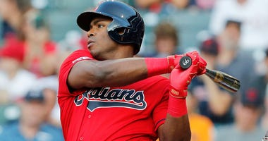 CLEVELAND, OH - AUGUST 01: Yasiel Puig #66 of flies out in his first at-bat with the Cleveland Indians against the Houston Astros in the first inning at Progressive Field on August 1, 2019 in Cleveland, Ohio. Puig was acquired from the Cincinnati Reds on