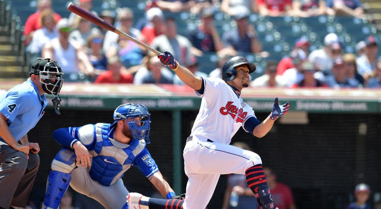 CLEVELAND, OHIO - JULY 21: Francisco Lindor #12 of the Cleveland Indians hits a two run home run during the third inning against the Kansas City Royals at Progressive Field on July 21, 2019 in Cleveland, Ohio. (Photo by Jason Miller/Getty Images)
