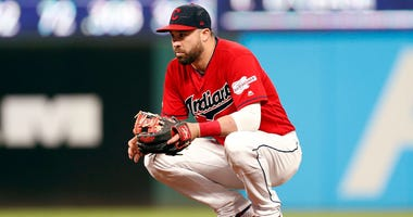 CLEVELAND, OH - AUGUST 01: Jason Kipnis #22 of the Cleveland Indians waits in the infield during a pitching change against the Houston Astros in the seventh inning at Progressive Field on August 1, 2019 in Cleveland, Ohio. The Astros defeated the Indians