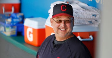 CLEVELAND, OH - AUGUST 14: Manager Terry Francona #77 of the Cleveland Indians sits in the dugout before the game against the Boston Red Sox at Progressive Field on August 14, 2019 in Cleveland, Ohio. The Red Sox defeated the Indians 5-1. (Photo by David