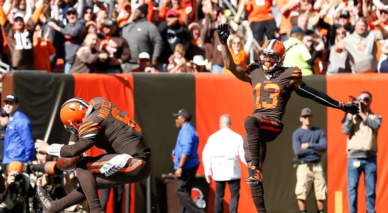 CLEVELAND, OH - OCTOBER 13: Baker Mayfield #6 of the Cleveland Browns and Odell Beckham Jr. #13 celebrate after Mayfield scores touchdown during the first quarter of the game against the Seattle Seahawks at FirstEnergy Stadium on October 13, 2019 in Cleve
