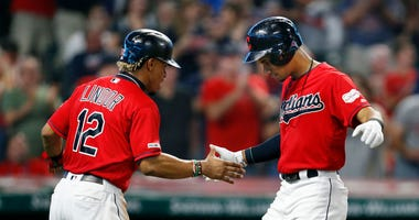 CLEVELAND, OH - SEPTEMBER 21: Oscar Mercado #35 celebrates with Francisco Lindor #12 of the Cleveland Indians after hitting a two run home run against the Philadelphia Phillies during the second inning at Progressive Field on September 21, 2019 in Clevela