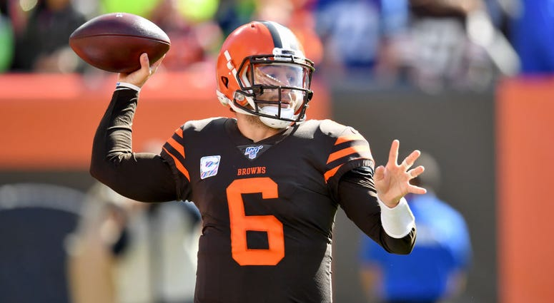 CLEVELAND, OHIO - OCTOBER 13: Quarterback Baker Mayfield #6 of the Cleveland Browns passes during the first quarter against the Seattle Seahawks at FirstEnergy Stadium on October 13, 2019 in Cleveland, Ohio. (Photo by Jason Miller/Getty Images)
