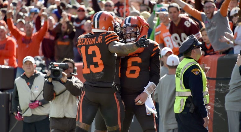 CLEVELAND, OHIO - OCTOBER 13: Odell Beckham #13 celebrates with Baker Mayfield #6 of the Cleveland Browns after Mayfield ran in a touchdown during the first quarter against the Seattle Seahawks at FirstEnergy Stadium on October 13, 2019 in Cleveland, Ohio