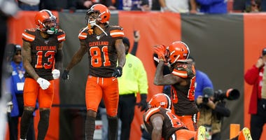 CLEVELAND, OH - NOVEMBER 10: Rashard Higgins #81 of the Cleveland Browns celebrates after catching the game winning touchdown during the fourth quarter of the game against the Buffalo Bills at FirstEnergy Stadium on November 10, 2019 in Cleveland, Ohio. C