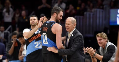 Kevin Love #0 congratulates head coach John Beilein of the Cleveland Cavaliers during the final seconds of the second half against the Indiana Pacers at Rocket Mortgage Fieldhouse on October 26, 2019 in Cleveland, Ohio.