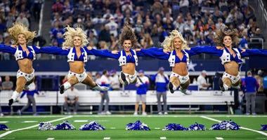 ARLINGTON, TX - NOVEMBER 28: Dallas Cowboys Cheerleaders perform on Thanksgiving Day before a game against the Buffalo Bills at NRG Stadium on November 28, 2019 in Arlington, Texas. (Photo by Wesley Hitt/Getty Images)