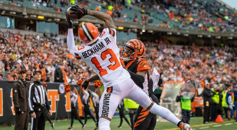 Odell Beckham Jr. #13 of the Cleveland Browns makes a touchdown catch during the fourth quarter of the game against the Cincinnati Bengals at Paul Brown Stadium on December 29, 2019 in Cincinnati, Ohio. (Photo by Bobby Ellis/Getty Images