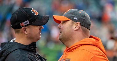 Head coach Zac Taylor of the Cincinnati Bengals and head coach Freddie Kitchens of the Cleveland Browns meet at midfield after the game between the Cincinnati Bengals and the Cleveland Browns at Paul Brown Stadium on December 29, 2019 in Cincinnati, Ohio.