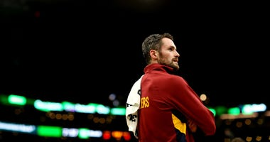 BOSTON, MASSACHUSETTS - DECEMBER 09: Kevin Love #0 of the Cleveland Cavaliers looks on during a timeout during the first half of the game against the Boston Celtics at TD Garden on December 09, 2019 in Boston, Massachusetts. (Photo by Maddie Meyer/Getty I