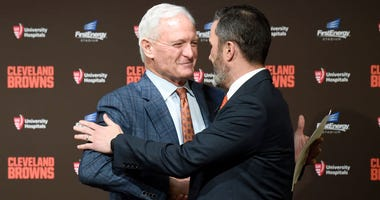 CLEVELAND, OHIO - JANUARY 14: Team owner Jimmy Haslam shakes hands with Kevin Stefanski after introducing Stefanski as the Cleveland Browns new head coach on January 14, 2020 in Cleveland, Ohio. (Photo by Jason Miller/Getty Images)