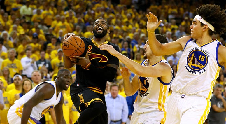 OAKLAND, CA - JUNE 19: Kyrie Irving #2 of the Cleveland Cavaliers drives to the hoop against the Golden State Warriors in Game 7 of the 2016 NBA Finals at ORACLE Arena on June 19, 2016 in Oakland, California. NOTE TO USER: User expressly acknowledges and
