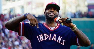 CLEVELAND, OH - OCTOBER 07: LeBron James #23 of the Cleveland Cavaliers addresses the crowd prior to game two of the American League Divison Series between the Boston Red Sox and the Cleveland Indians at Progressive Field on October 7, 2016 in Cleveland,