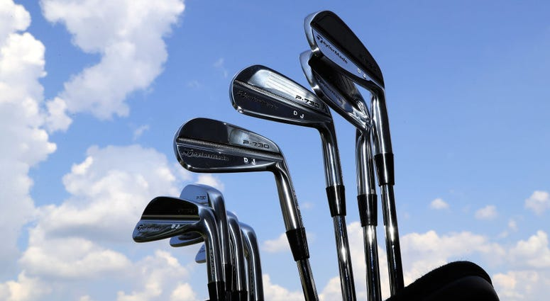 AKRON, OH - AUGUST 02: Dustin Johnson's Taylor Made P-730 irons are seen during a preview day of the World Golf Championships - Bridgestone Invitational at Firestone Country Club South Course on August 2, 2017 in Akron, Ohio. (Photo by Sam Greenwood/Getty
