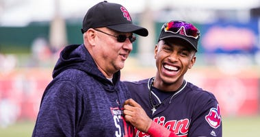 GOODYEAR, AZ - FEBRUARY 23: Francisco Lindor #12 of the Cleveland Indians shares a laugh with manager Terry Francona before a game against the Cincinnati Reds during a Spring Training Game at Goodyear Ballpark on February 23, 2018 in Goodyear, Arizona. (P