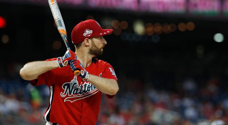 WASHINGTON, DC - JULY 15: Scott Rogowsky bats during the All-Star and Legends Celebrity Softball Game at Nationals Park on July 15, 2018 in Washington, DC. (Photo by Patrick McDermott/Getty Images)