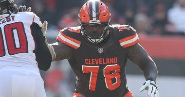 Cleveland Browns left tackle Greg Robinson blocks Atlanta Falcons' Derrick Shelby during the second quarter on Sunday, Nov. 11, 2018 at FirstEnergy Stadium in Cleveland, Ohio. The Browns won the game 28-16. (Photo by Phil Masturzo/Akron Beacon Journal/TNS