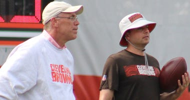 Cleveland Browns general manager John Dorsey and assistant GM Eliot Wolf
