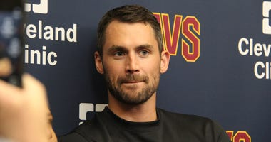 Cleveland Cavaliers forward Kevin Love addresses the media after signing a 4-year $120 million contract extension