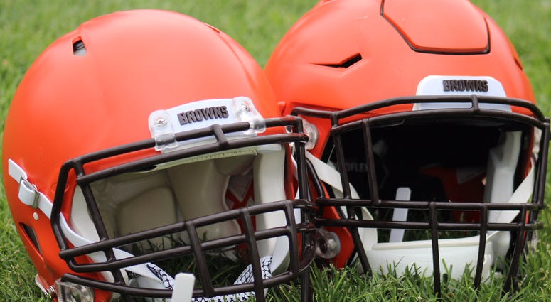 A generic view of the Browns helmets. Head coach Hue Jackson is making his players earn the team's iconic Oreo stripe by making the roster this year.