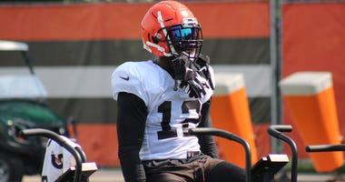 Browns receiver Josh Gordon rides an exercise bike on Aug. 27, 2018