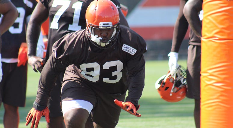 Browns defensive tackle Trevon Coley works a drill during practice on Aug. 28, 2018. Coley missed 4 weeks with a sprained ankle.