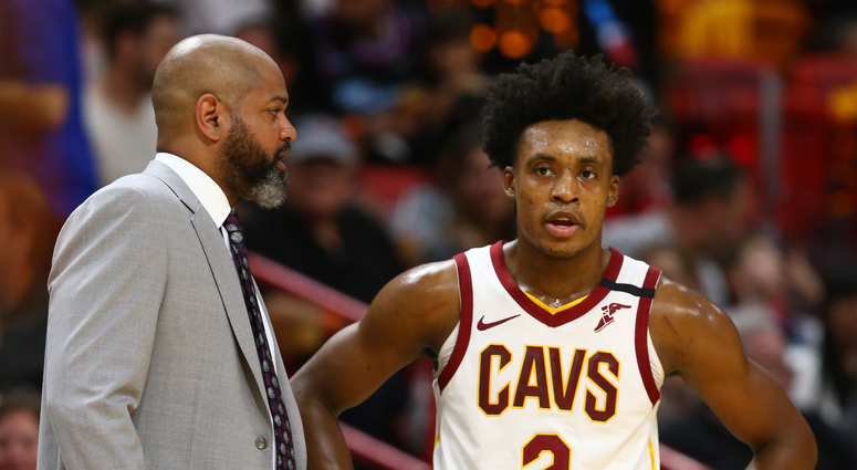 Feb 22, 2020; Miami, Florida, USA; Cleveland Cavaliers head coach J.B. Bickerstaff and guard Collin Sexton (2) talk during the second quarter at American Airlines Arena. Mandatory Credit: Kim Klement-USA TODAY Sports