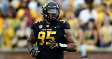 COLUMBIA, MO - SEPTEMBER 08: Defensive lineman Jordan Elliott #95 of the Missouri Tigers in action during the game against the Wyoming Cowboys at Faurot Field/Memorial Stadium on September 8, 2018 in Columbia, Missouri. (Photo by Jamie Squire/Getty Images