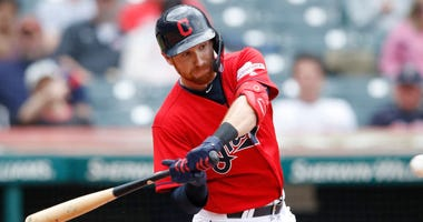 CLEVELAND, OH - MAY 09: Jordan Luplow #8 of the Cleveland Indians bats in the third inning against the Chicago White Sox at Progressive Field on May 9, 2019 in Cleveland, Ohio. (Photo by Joe Robbins/Getty Images)