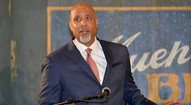 Major League Baseball Player Association executive director Tony Clark speaks during a presentation at the Negro Leagues Baseball Museum.
