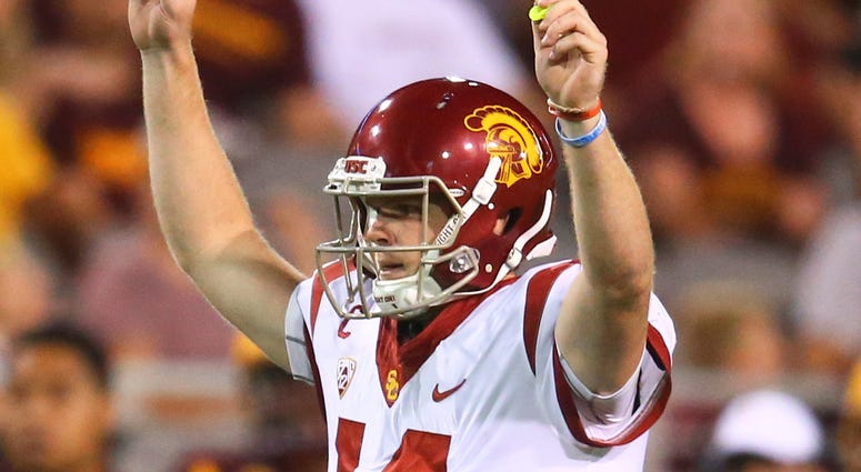 Southern California Trojans quarterback Sam Darnold (14) celebrates a play against the Arizona State Sun Devils at Sun Devil Stadium