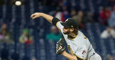 Apr 20, 2018; Philadelphia, PA, USA; Pittsburgh Pirates relief pitcher George Kontos (70) pitches during the eighth inning against the Philadelphia Phillies at Citizens Bank Park.