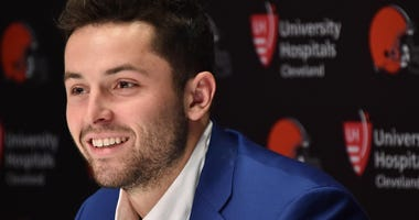 Cleveland Browns first round and overall number one pick in the NFL draft Baker Mayfield answers questions during a press conference at the Cleveland Browns training facility