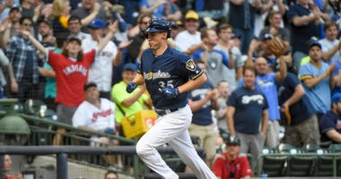 May 8, 2018; Milwaukee, WI, USA; Milwaukee Brewers pitcher Brent Suter (35) runs the bases after hitting a solo home run in the third inning against the Cleveland Indians at Miller Park.