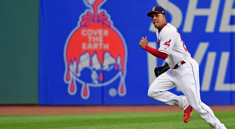 May 11, 2018; Cleveland, OH, USA; Cleveland Indians left fielder Michael Brantley (23) cases after a double hit by Kansas City Royals left fielder Jon Jay (25) in the second inning at Progressive Field.